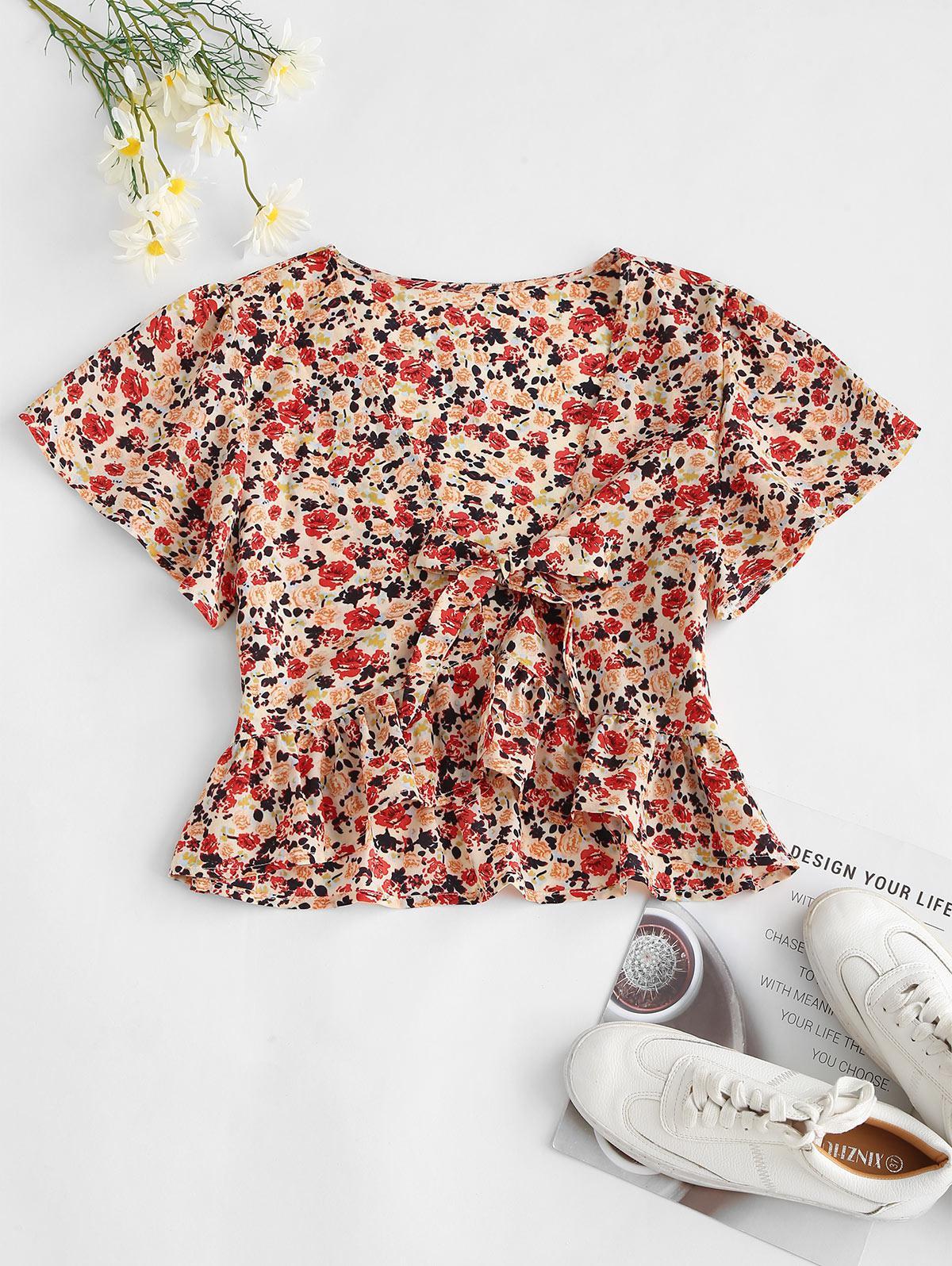 Peplum Hem Floral Tie Front Blouse