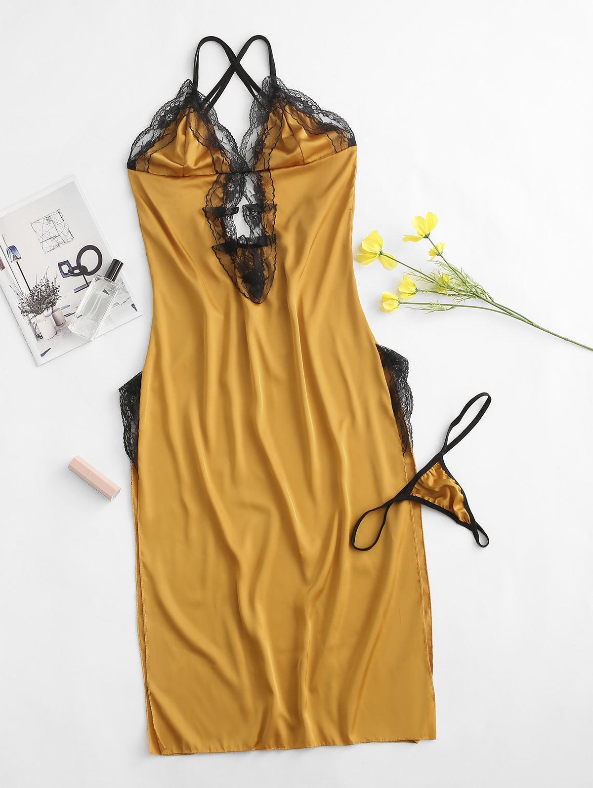 Strappy Back Lace Panel Satin Slit Sleep Dress