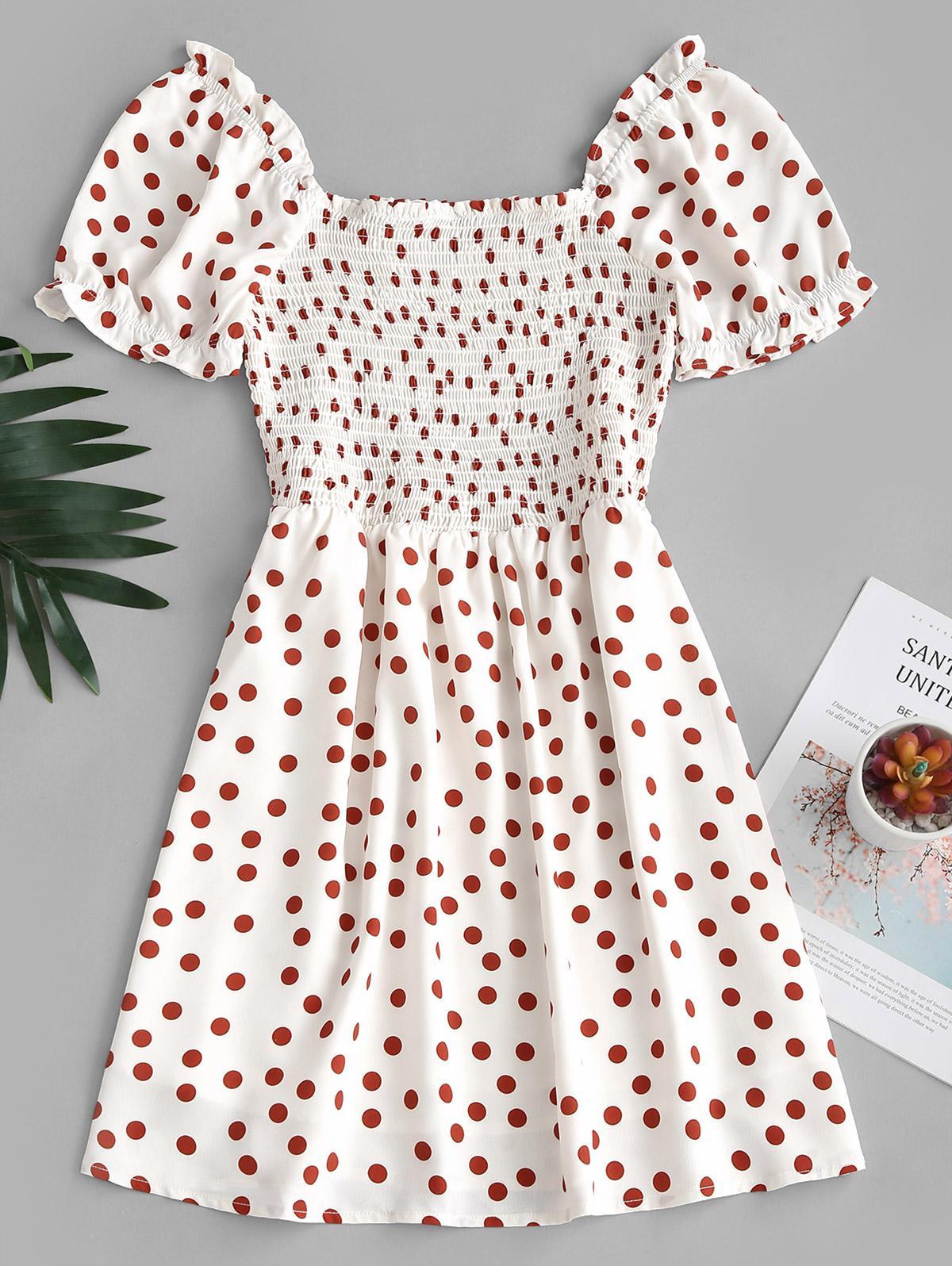 Polka Dot Smocked Milkmaid Mini Dress