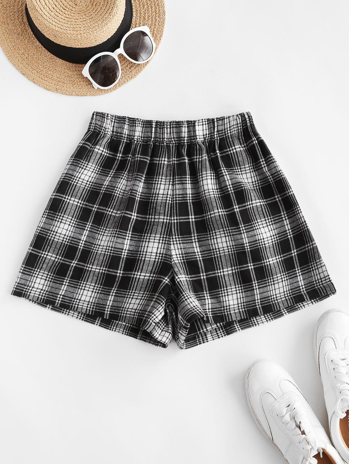 Plaid Pocket Pull-on Shorts