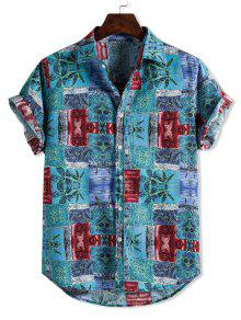 Ethnic Floral Pattern Block Shirt