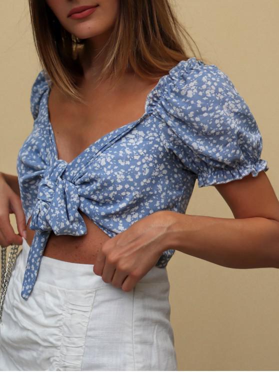 women ZAFUL Ditsy Print Tie Front Crop Blouse - LIGHT BLUE S