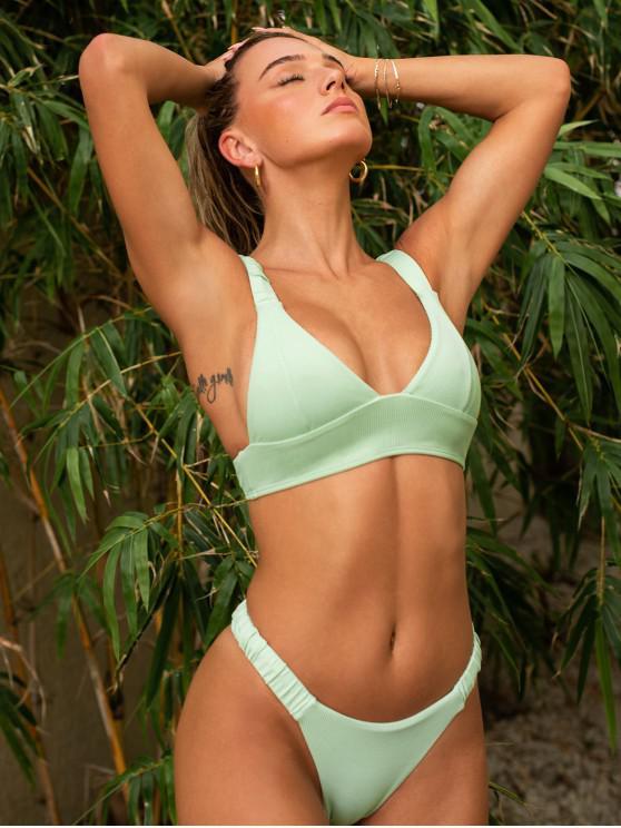 outfit Jessica Stockstill x ZAFUL Elasticated Straps Ribbed Bikini Swimwear - LIGHT GREEN M