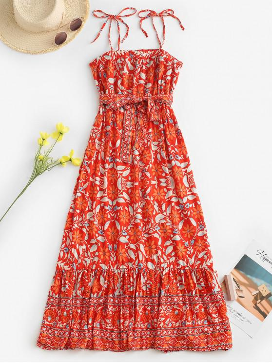 women Belted Leaves Floral Tie Shoulder Midi Dress - RED M