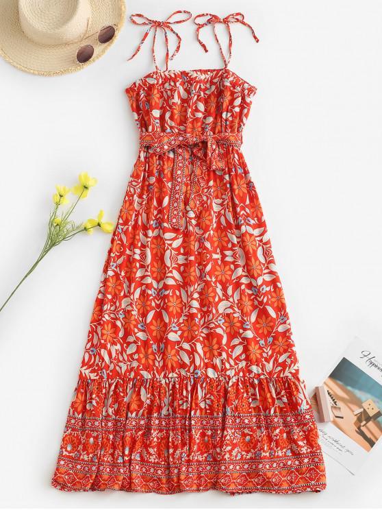 shop Belted Leaves Floral Tie Shoulder Midi Dress - RED S