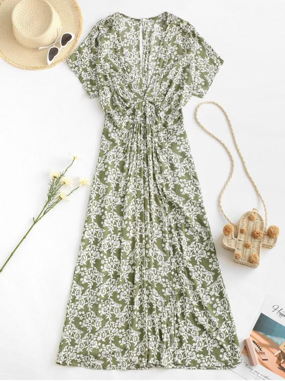 latest Empire Waist Floral Front Slit Midi Dress - LIGHT GREEN L