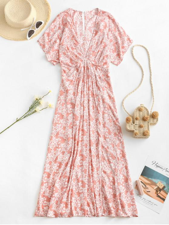 affordable Empire Waist Floral Front Slit Midi Dress - LIGHT PINK M