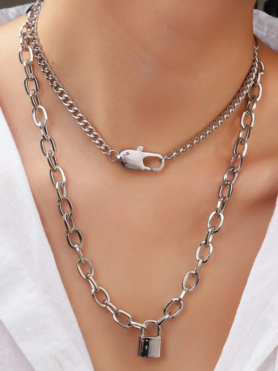 ladies 2Pcs Lock Pendant Necklace Set - SILVER