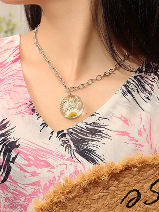 Resin Dried Flower Pendant Necklace - فضة