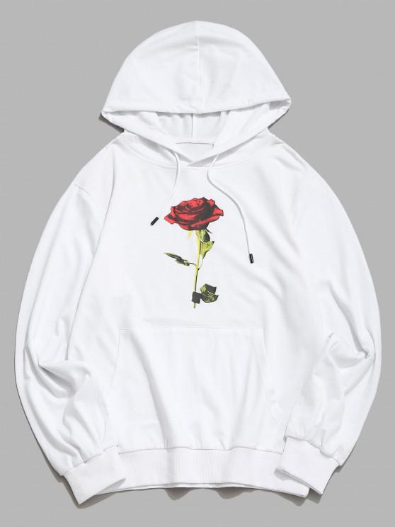Moletom Impresso Floral de Rosa do Bolso do Canguru - Branco M