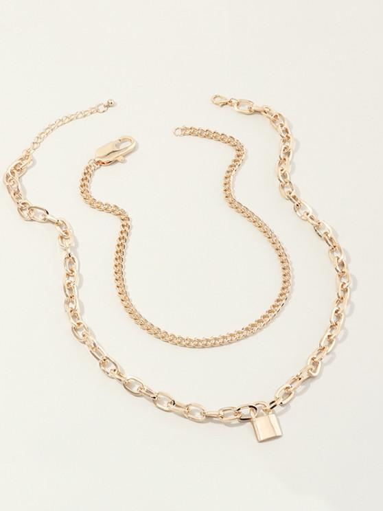 shops 2Pcs Boyish Lock Pendant Necklace Set - GOLDEN