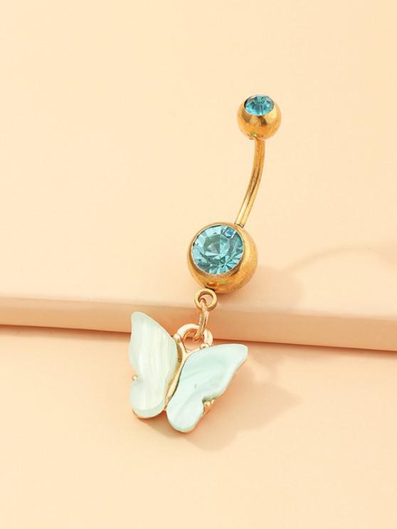 Anneau de Nombril Papillon en Acrylique avec Strass - Vert