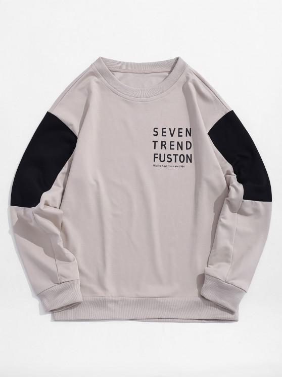 outfits Letter Print Colorblocking Panel Sweatshirt - WARM WHITE XS