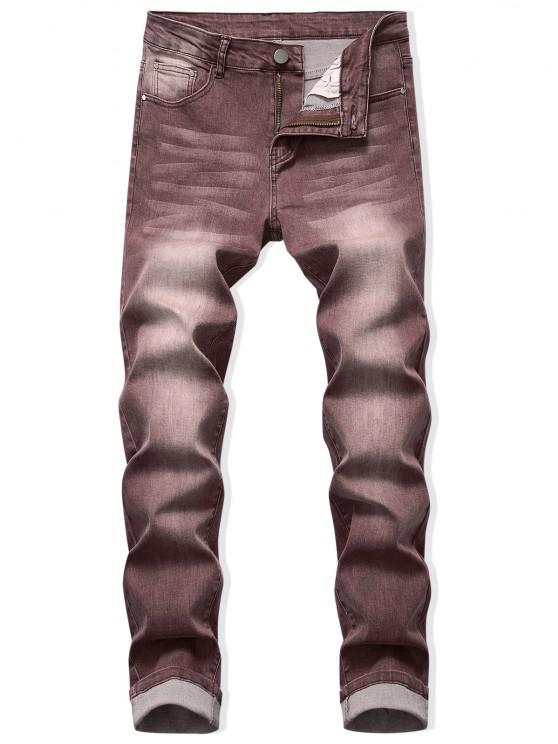 Zip Fly Long Faded Wash Denim Pants - القهوة العميقة 38