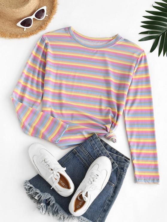 chic Casual Colorful Stripes Tee - LIGHT PINK 2XL