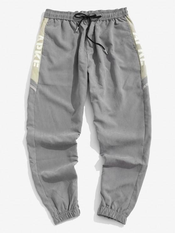 Letter Print Patchwork Jogger Pants - اللون الرمادي XS