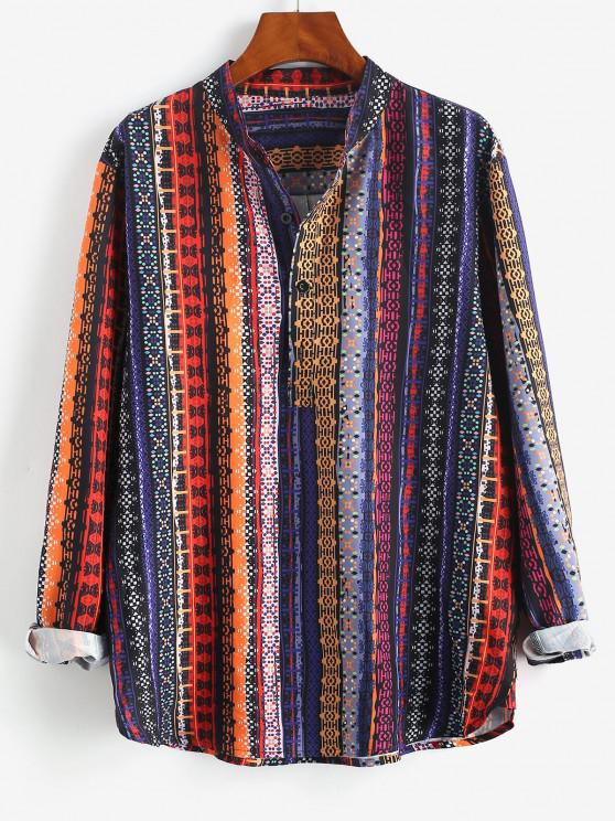 ladies Tribal Striped Print Half Button Shirt - DEEP BLUE 3XL