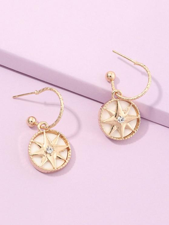 ladies Geometry Star Drop Earrings - GOLDEN