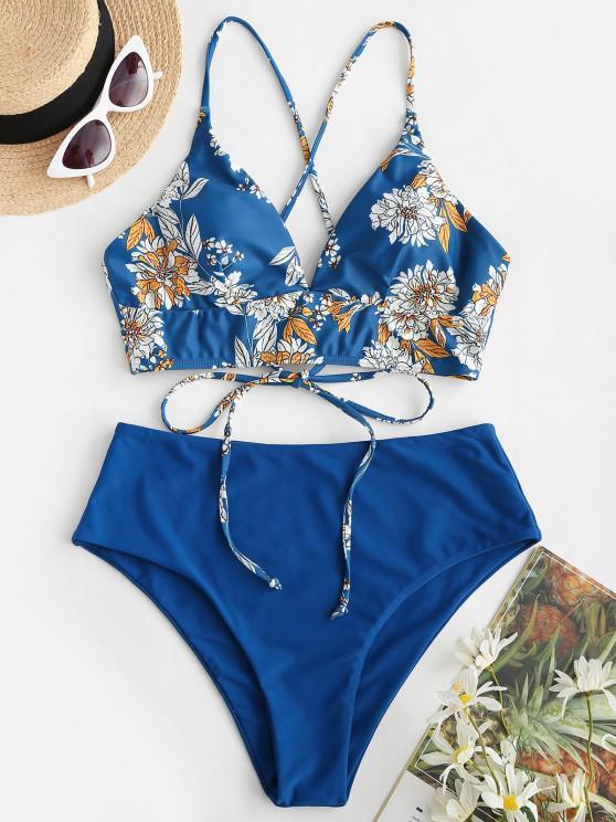 buy Floral Print Tie Back High Waist Tankini Swimwear - BLUE S
