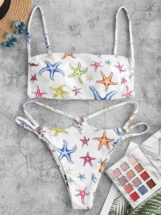 ZAFUL Starfish Print Ribbed O Ring Tanga Bikini Swimwear - أبيض S