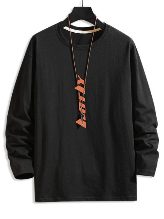 Vertical Letter Graphic Drop Shoulder Lounge T Shirt - أسود M