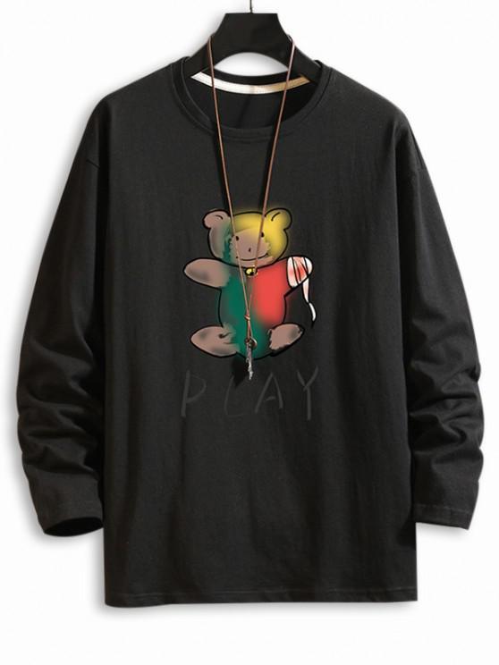 プレイベア印刷長袖Tシャツ - ブラック XL