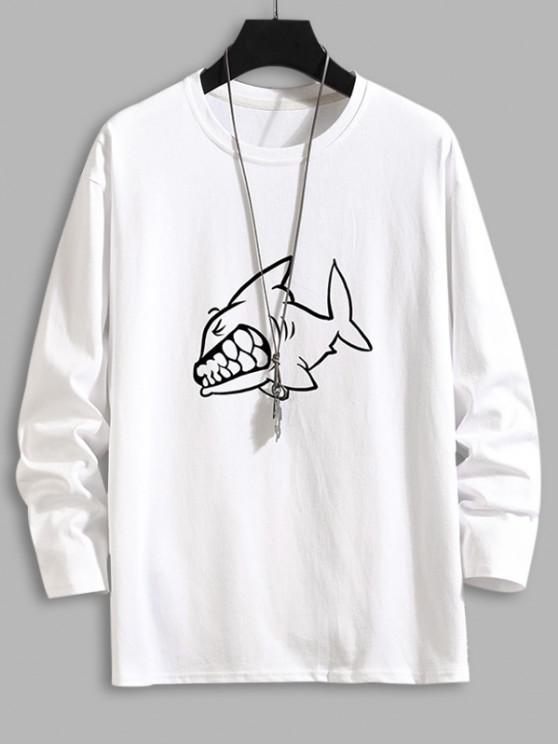 T-shirt de Base Requin Imprimé à Manches Longues - Blanc 3XL