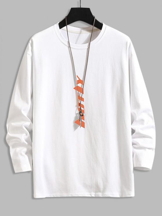 Vertikal Buchstabe Grafik Hängender Schulter Lounge T-Shirt - Weiß XL