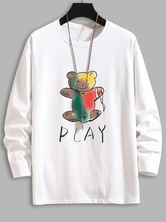 Play Bear Print Long Sleeve T-shirt - أبيض M