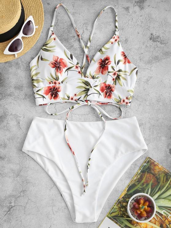 Gebundener Tankini Badeanzug mit Hoher Taille und Blumendruck - Weiß S