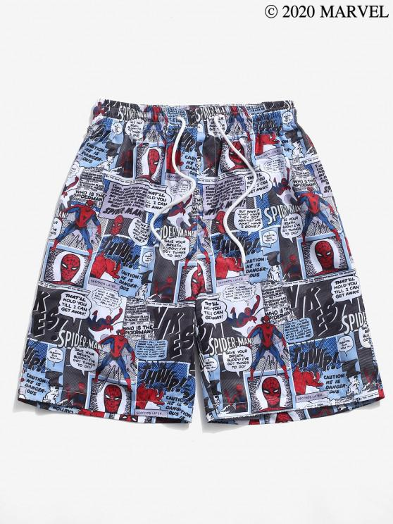 new Marvel Spider-Man Comics Graphic Print Shorts - BLUE GRAY 2XL