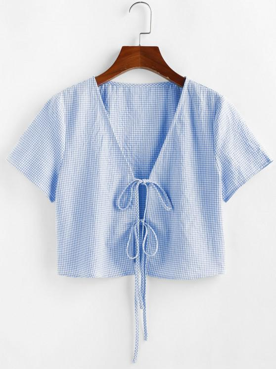ladies ZAFUL Gingham Tie Front Plunging Blouse - MULTI-C S