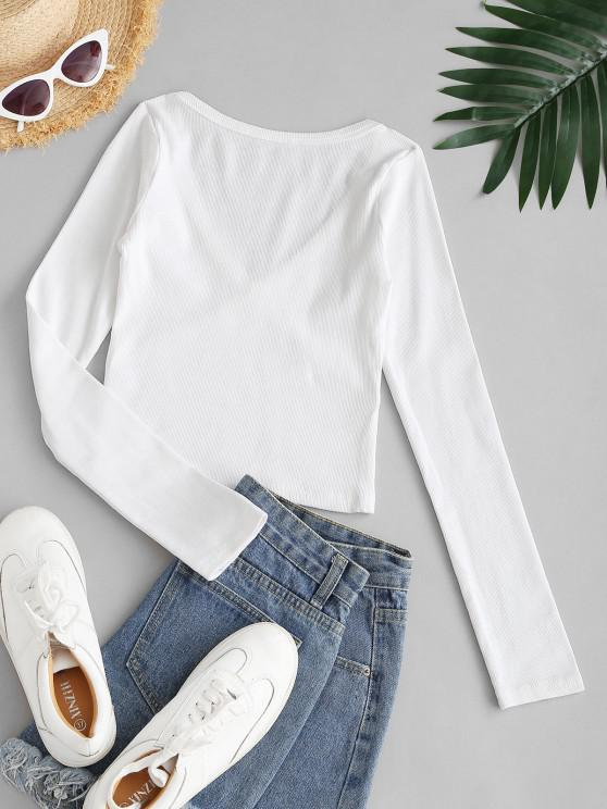 Ribbed Long Sleeve Crop Top - White S   ZAFUL