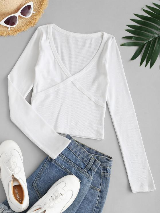 online Ribbed Long Sleeve Crop Top - WHITE S