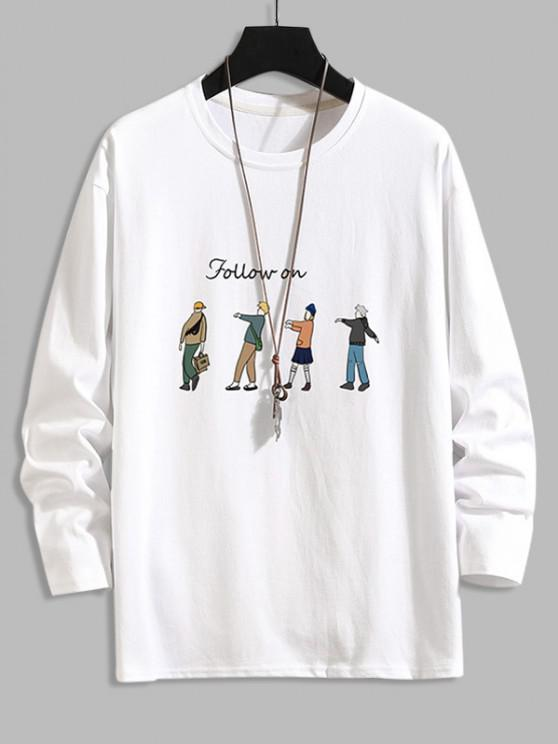 ladies Follow On Cartoon Character Basic T-shirt - WHITE 4XL