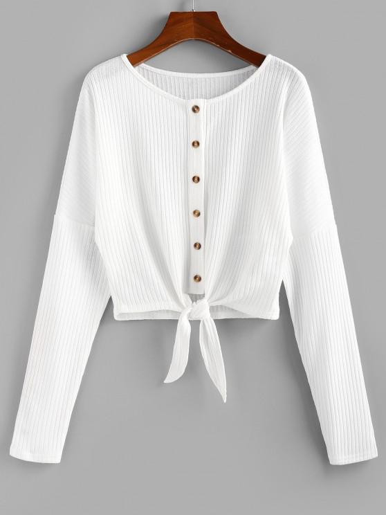 ZAFUL Front Tie Rib Knit Cardigan - حليب ابيض XL