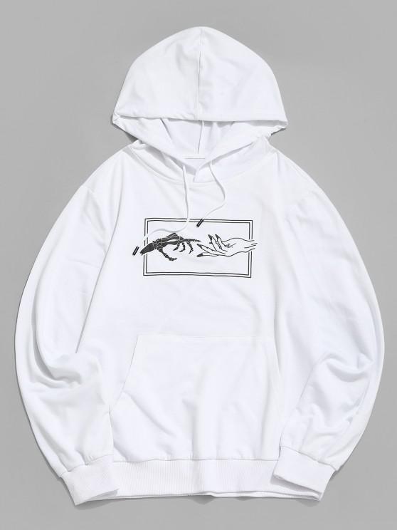 fancy Hands Graphic Print Kangaroo Pocket Hoodie - WHITE XL