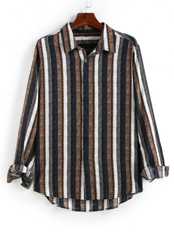 affordable ZAFUL Striped Print Button Up High Low Shirt - COFFEE 2XL