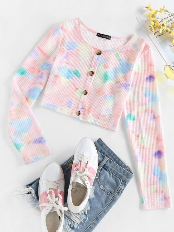 womens ZAFUL Mock Button Tie Dye Crop T Shirt - MULTI M