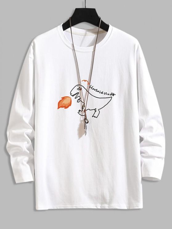 T-shirt de Base Lettre Graphique Dinosaure de Feu - Blanc 3XL