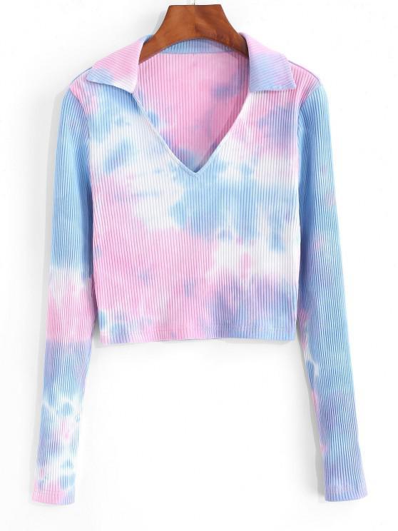 shop ZAFUL Ribbed Tie Dye Crop T Shirt - MULTI-A S