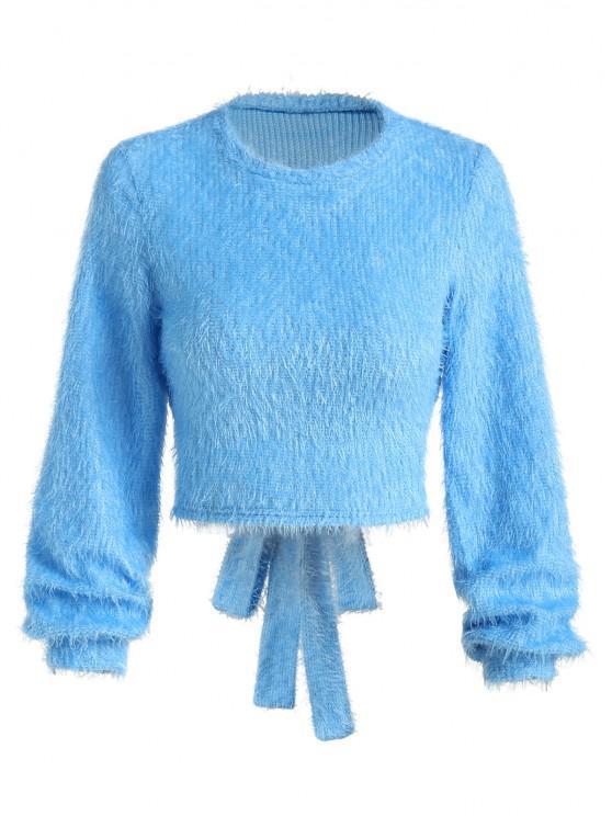 ZAFUL Cutout Back Tie Fuzzy Cropped Sweater - ردة الذرة الأزرق L