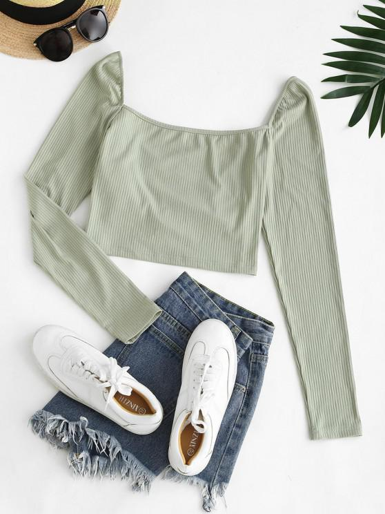 chic ZAFUL Multiway Crossover Ribbed Crop T Shirt - LIGHT GREEN L
