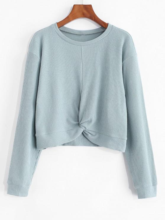 shop ZAFUL Cropped Front Twist Ribbed Tee - BLUE GRAY S