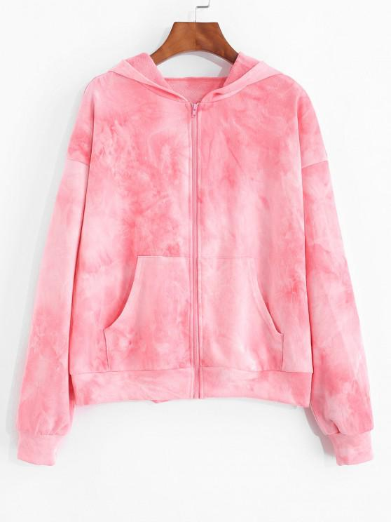 outfits ZAFUL Pastal Tie Dye Zip Up Hoodie - PINK XL