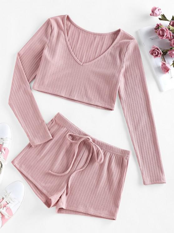 affordable ZAFUL Rib-knit Bowknot V Neck Pajama Shorts Set - KHAKI ROSE XL