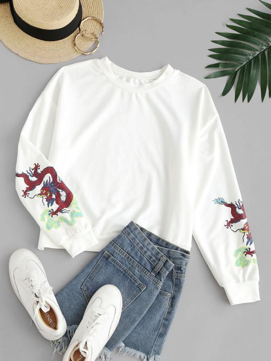 ZAFUL Dragon Print Oriental Sweatshirt - أبيض XL