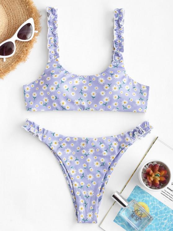 sale ZAFUL Ribbed Daisy Print Lettuce Strap Scrunch Butt Bikini Swimwear - LIGHT PURPLE S