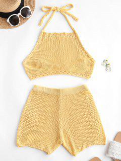 Crochet Hollow Out Halter Shorts Set - Yellow