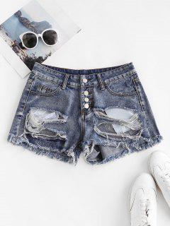 Patriotic American Flag Distressed Button Fly Jean Shorts - Blue L